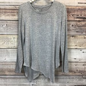 Maurices 24/7 Small Knit Top Gray Asymmetrical Hem